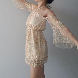 NEW Sparkly Sequin Gold Blush Nude Illusion Romper